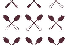Set of crossed tablespoons