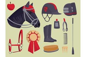 Jockey horse vector hippodrome champion animal stallion competition nature farm riding activity sport leisure illustration.