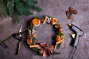 Christmas aromatic wreath DIY