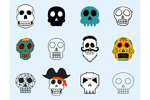 Different style skulls faces vector illustration halloween horror style tattoo anatomy art.