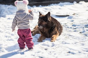 Girl meets a dog on winter walk