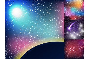 Starry outer galaxy cosmic space illustration universe background sky astronomy nebula cosmos night constellation vector realistic astrology.