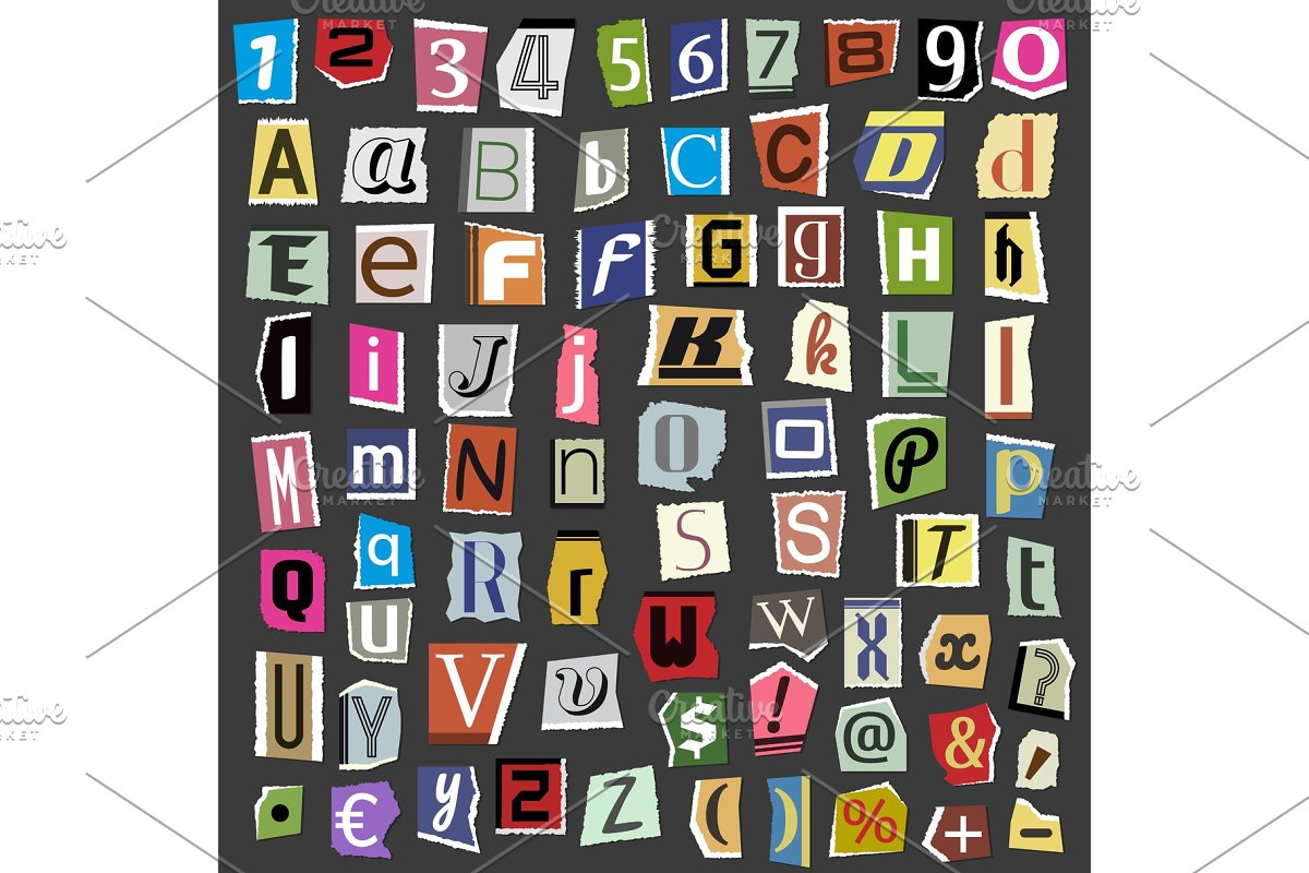 Vector collage alphabet letters made from newspaper magazine abc paper text  cut type typography sign illustration