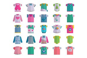 Vector flat baby infant clothes textile icon set design casual fabric colorful dress child garment wear illustration t-short and dresses