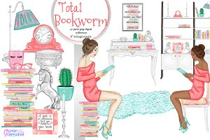Total Bookworm Clipart collection
