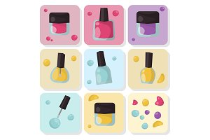Red nail polish bottle varnish enamel glamour fashion liquid beauty paint accessory female vector illustration.