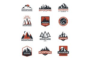 Mountain vector silhouette travel logo badge nature outdoor rocky snow top landscape climbing mount hill peak hiking illustration