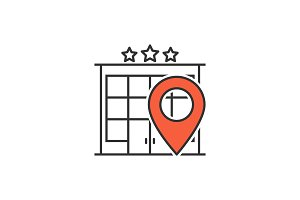 Hotel location line icon