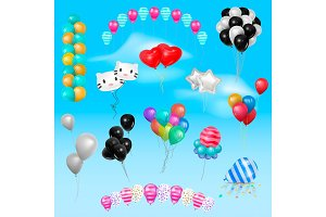 Different 3d realistic balloonss in air happy Birthday gift collection of colorful gel balls vector set illustration