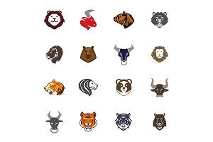 Wild animals head logo badges labels design face quality emblem templates leader icon business company symbol vector illustration.
