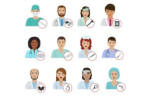 Different doctors avatar face portraits hospital staff characters flat medicine professional physician people vector illustration.