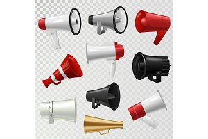 Megaphone realistic 3d high volume speaker device mouthpiece speaking-trumpet vector illustration.