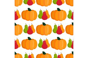 Seamless pattern with pumpkins thanksgiving autumn decoration vector illustration vegetable background.