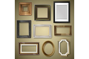 Vector retro vintage art photo picture frames museum exhibition decorative antique decoration wall realistic 3d