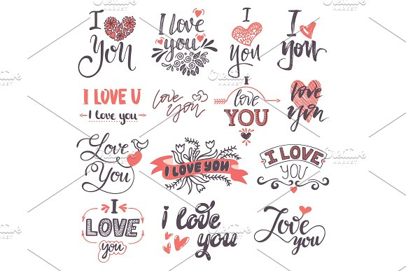 I love You text logo phrases Valentine Day or Wedding ceremony lovely font calligraphy design vector set.