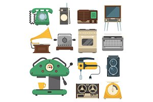 Retro vintage household appliances vector kitchenware antique technology utensil housework electric equipment illustration.