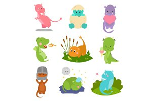Cute kid baby dragon dinosaur fantasy animals cartoon character reptile mythology comic dino monster vector illustration.