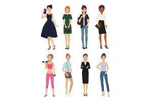 Fashion model girl clothes character looks style elegant woman shopping glamour feemale girlfriends stylish clothing pretty people vector illustration.