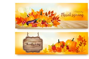 Set of Happy Thanksgiving banners