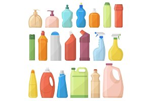 Household chemicals bottles pack cleaning housework liquid domestic fluid cleaner template vector illustration.