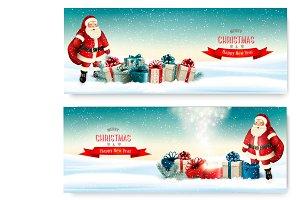 Two Holiday Christmas banners