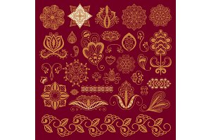 Henna tattoo brown mehndi flower doodle ornamental decorative indian design pattern paisley arabesque mhendi embellishment vector.