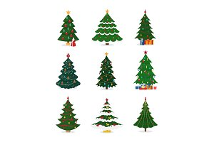 Christmas New Year tree vector icons with ornament star Xmas tree design holiday celebration winter season party plant.