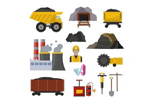 Coal extraction production mining heavy industry coalminer underground work transportation vector illustration