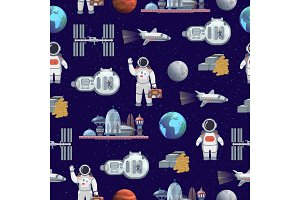 Space tourism future travel city vector illustration with astronaut and spaceship seamless pattern background