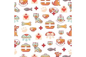 Veterinary pets clinic animal seamless pattern background dogs and cats vet clinic veterinarian shop vector illustration.