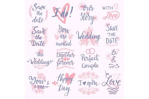 Wedding Day marriage phrases text lettering invitation calligraphy handdrawn greeting love logo romantic vector illustration