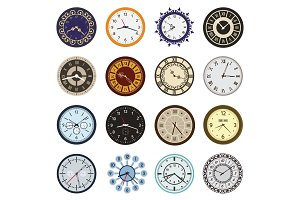 Clock faces different design circle and arrows numbers index watch clockwise arrows numbers dial-face vector illustration