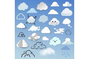 Cloud icon different style cloudy design nature sky shape cloudscape bubble speech vector illustration.