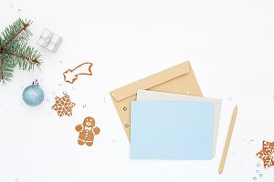 Christmas workplace with blank card