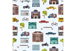 Modern urban city buildings and transport seamless pattern megapolice town background vector illustration