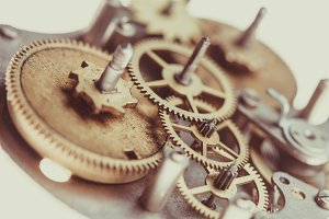 Mechanical watches close up