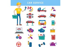 Car service repair parts and serviceman boy vector icons vehicle and automobile equipment