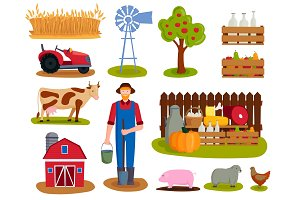 Farm vector illustration nature food harvesting grain agriculture growth cultivated design.