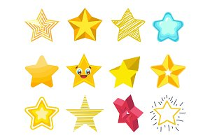 Different style shape silhouette shiny star icons collection vector illustration.