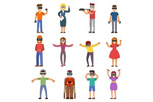 Virtual reality VR glass headset people playing enjoy 3d goggles device characters simulation futuristic video game vector illustration.