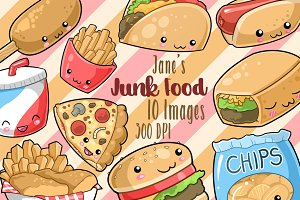 Kawaii Junk Food Clipart