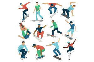 Young skateboarder active boys sport extreme active skateboarding jump tricks vector illustration.