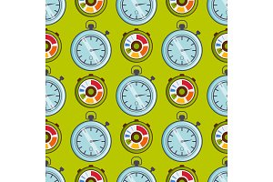 Clock watches vector timer seamless pattern measurement tools number digital information stopwatch illustration