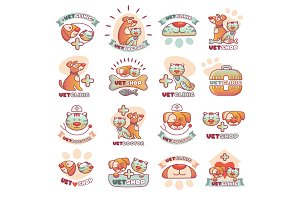 Veterinary pets clinic animal badges logotypes with dogs and cats vet clinic veterinarian shop vector illustration.
