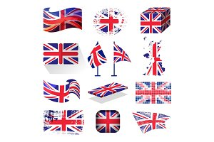 Waving UK flag england british patriotic national symbol of Great Britain different style vector illustration.
