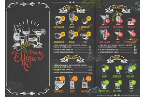 Restaurant menu beverage drink poster chalkboard calligraphic lettering old retro vintage style vector illustration.