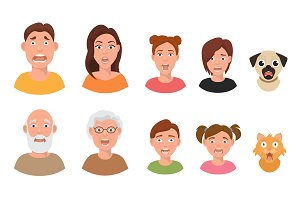 People facial emotions afraid fearful scared windy emotions human faces different expressions vector illustration in flat style.
