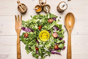 Fresh salad mix with butter