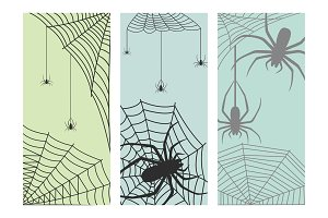 Spider web silhouette arachnid fear graphic flat scary animal design nature insect danger horror halloween vector cards.