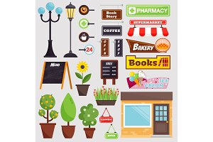 Shop facade elements vector set.